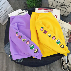 Sweet Purple Yellow Sweatshirt Cute Cake Milk Food Printed Pullovers Autumn Winter Warm Thick Fleece Hoodie Women Preppy Outwear 4