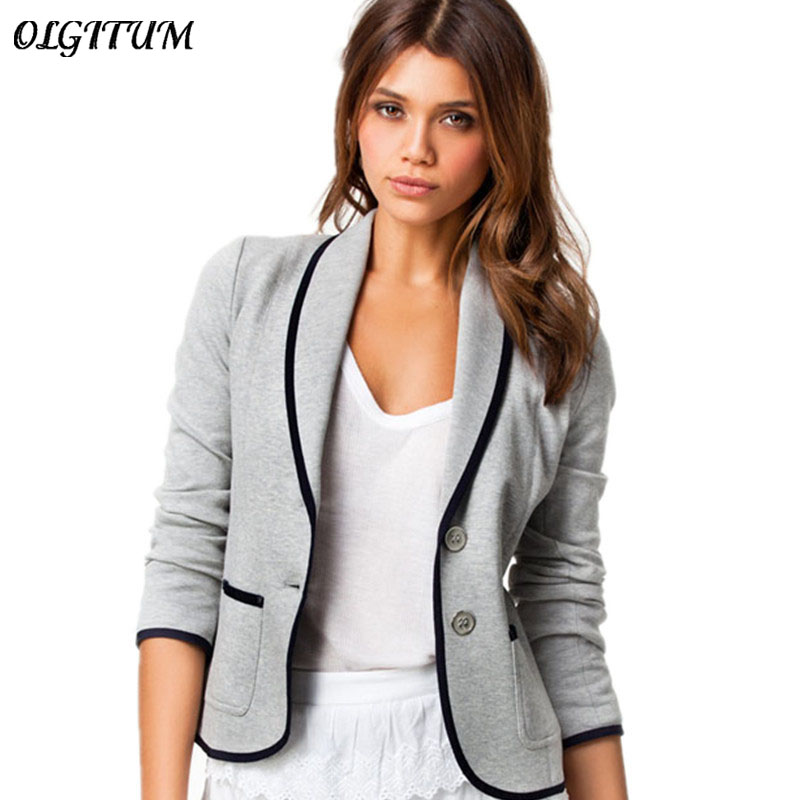 Plus Size S-6XL Female Jacket 2019 Casual V-Neck Versatile Fashion Slim Slimming Temperament Small Suit Jacket With Two Pockets