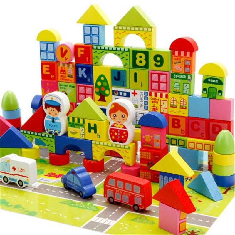 WYNLZQ 160 Pcs/lot créatif utile blocs en bois numéros transport dessin animé construction jouet pour enfants jeu maternelle noël