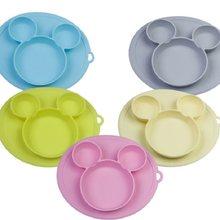Platos tipo tazón alimentación de bebé, plato de silicona para niños, gel de sílice integrado
