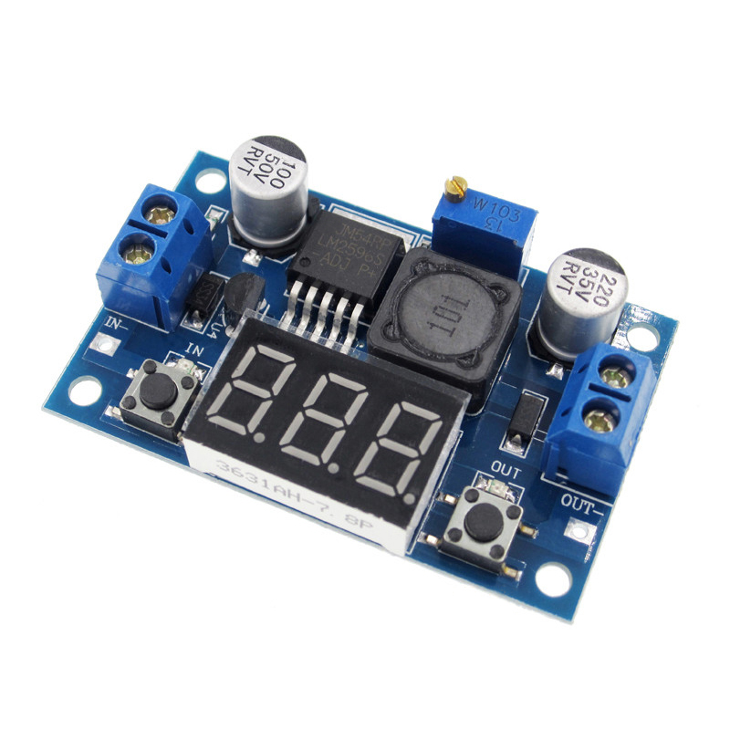 1pcs LM2596 DC 4.0~40 to 1.3-37V Adjustable Step-Down Power Module + LED Voltmeter DC/DC lm2596 module dc dc step down converter power supply module lm2596 dc 4 0 40 to 1 3 37v adjustable voltage regulator
