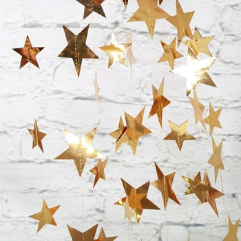 4M Bright Gold Silver Paper Garland Star String Banners Wedding Banner For Party Home Wall Hanging Decoration baby shower favors - discount item  18% OFF Festive & Party Supplies