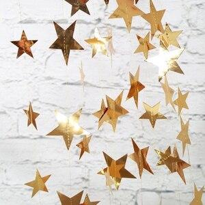 Image 1 - 4M lumineux or argent papier guirlande étoile chaîne bannières bannière de mariage pour fête maison tenture murale décoration bébé douche faveurs