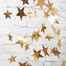 4m brilhante ouro prata papel guirlanda estrela string banners casamento banner para festa de parede casa pendurado decoração do chuveiro do bebê favores