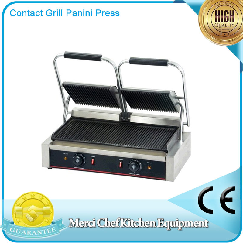 Food Machine Double Heads Contact Grill Panini Press and Buger Maker with Large Cooking Surface Groove Plate fast food leisure fast food equipment stainless steel gas fryer 3l spanish churro maker machine