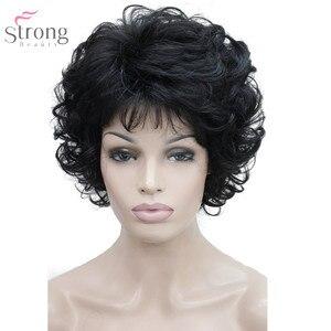 Image 3 - Strongbeauty 여성 합성 가발 capless 짧은 곱슬 머리 금발/검은 자연 가발