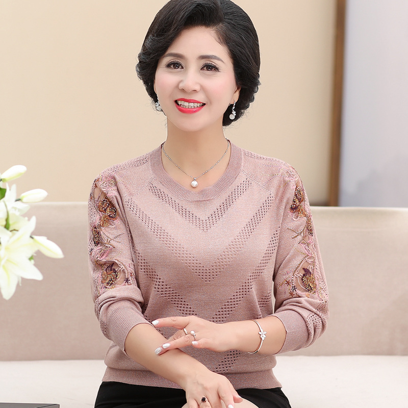 Middle Aged And Old Women's Top Coat New Style 2019 Bottoming Shirt 50-60 Year Old Long Sleeved Sweater