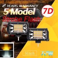 Auxtings 5inch 72w 7D LED light bar 5'' Strobe Flash 5 models White Amber offroad car light 12V 24V for Jeep 4WD Fog Light