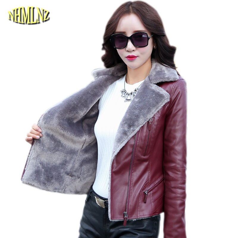 Leather Winter Warm Fashion Slim Coat Thick Warm Velvet Leather Jacket Casual Large Size Office Women's leather jacket OK634