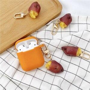 Image 4 - Yeni sevimli tatlı patates dekoratif silikon kılıf Apple Airpods için kılıf aksesuarları koruyucu kapak Bluetooth kulaklık anahtarlık