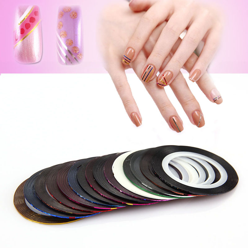 Mixed Colors Multicolor Rolls Striping Tape Nail Art Tips Sticker UV Gel Polish Manicure Decals Decoration 10pc set mixed colors nail rolls striping tape line diy nail art tips decoration sticker nails care for nail polish makeup tools