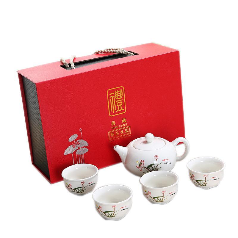 White Ceramic Tea Set Include 1 Teapot 4 Teacups Elegant Lotus Printed Teapot Kettle Chinese Travel Ceramic Portable Teaset Gift