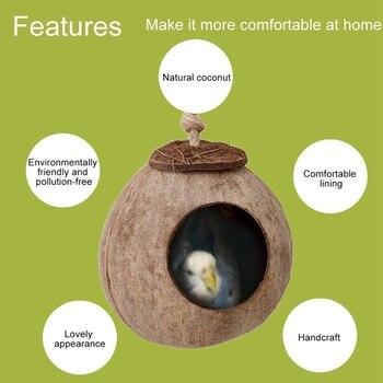 Bird Supplies Parrot Coconut Shell Bird Nest House Hut Cage Feeder Pet Parrot Bird Hamster Squirrel Breeding Nest Ladder Lanyard 4
