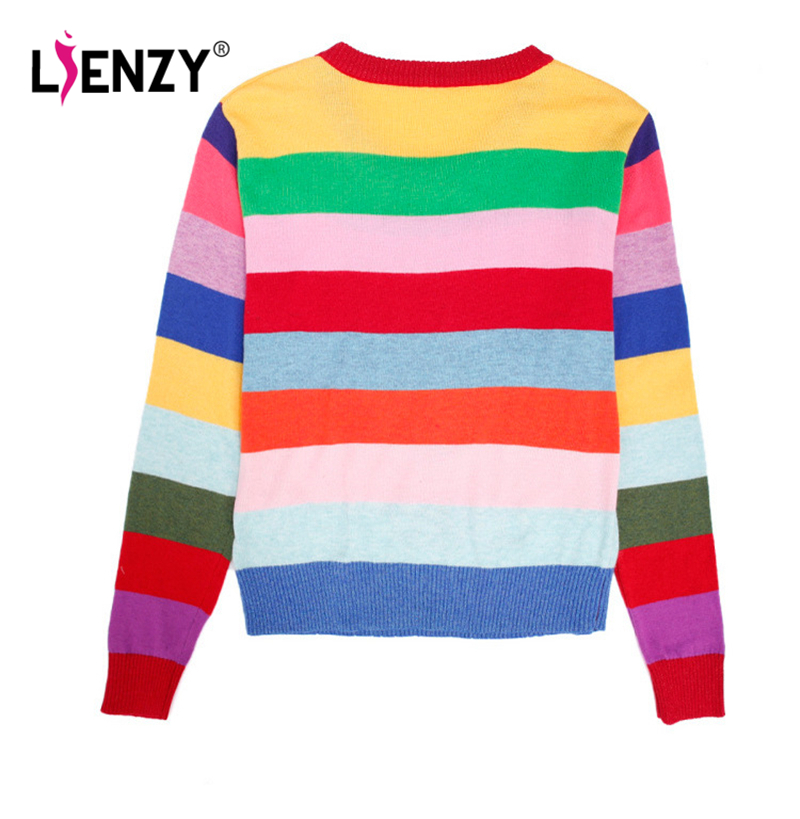 4b1adfc4bc LIENZY Autumn Tiger Sequins Women Sweater Long Sleeve Female Rainbow Striped  Knitted Pullovers Loved Embroidered Sweater-in Pullovers from Women s  Clothing ...