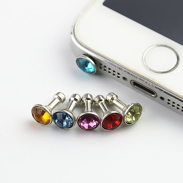 Universal 3.5 mm Diamond Mobile Phone Dust Plugs 5 pcs Set