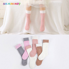 SLKMSWMDJ 2 pairs of Spring and Autumn new combed cotton lace patchwork girls baby Stockings size M L for 3-7 years old