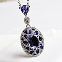 Luxury Collar Purple Crystal Silver Necklace Pendant with Genuine Austrian Crystal Bijoux women Fashion Jewelry Christmas Gift