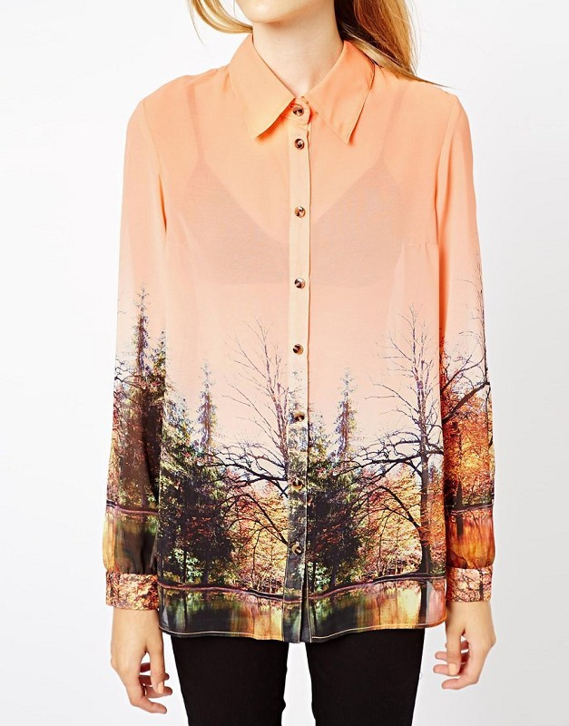 4c4c34923fd New Ladies casual scenery print long sleeves chiffon blouse women orange  tops-in Blouses   Shirts from Women s Clothing on Aliexpress.com