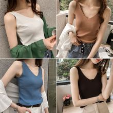US $0.21 29% OFF|Women Summer Knitted Crop Top Tank tops Female Plus size Sleeveless Sexy V Neck Vest Ladies Casual Streetwear Camis-in Tank Tops from Women's Clothing on Aliexpress.com | Alibaba Group