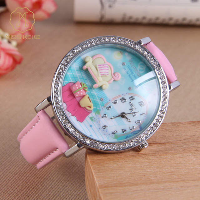 Miss Keke Children Kids Quartz Watches Diamond 3D Clay Room Designer Cartoon-Watch Pink Leather Girls Casual Wristwatches 907