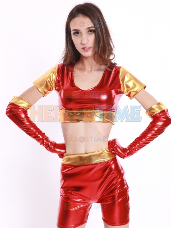 Iron Man Ironette Costume The Most Popular Red and Golden shiny metallic Iron man suit