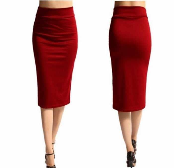 8c595791f0 ... Women's Elegant Fitted Mid-Calf Pencil Skirt High Waist Blends Business Skirts  Purple/Red