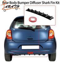 LARATH Rear Bumper Lip Diffuser 7 Fin Gloss Black Abs Car Styling Universal DJM6173