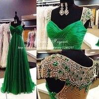 Emerald Xanh Formal Dress Xem Qua Lại Bất Ảnh Evening Dress 2017 Cap Ngắn Sleeve A-Line Long Voan Evening Dresses