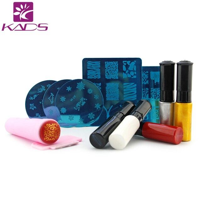 KADS NAIL STAMP PLATE SET Nail Art Stencils Stamping Template+Nail Stamp Polish+Stamper Scraper Set Tools Nail Art Template