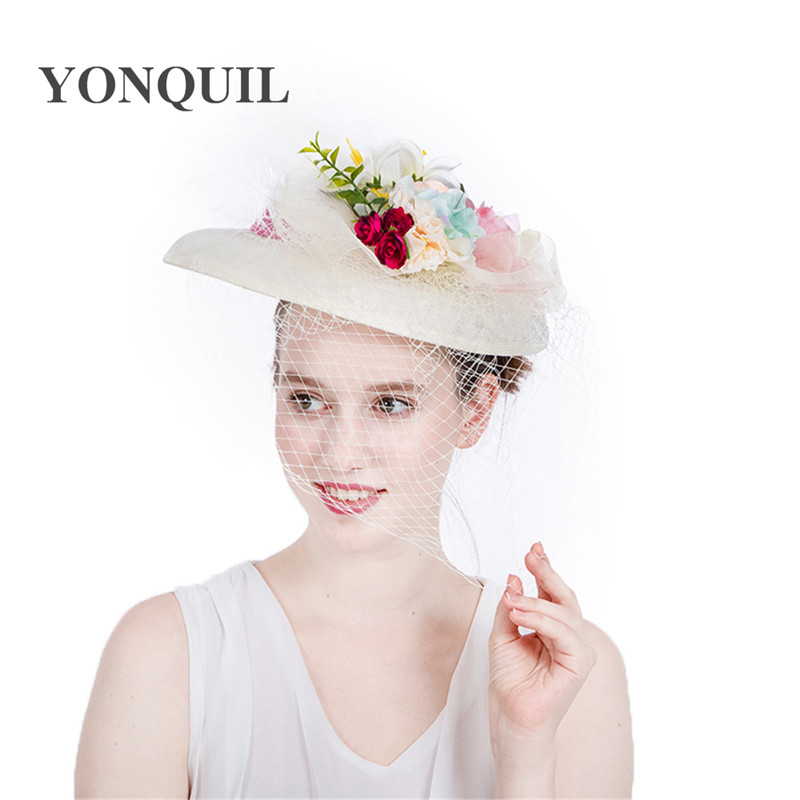 Fashion ivory Wedding Hats And Fascinators For Bride 30CM Big Cute Style Floral dot Veil Bowler Hat Women Banquet Party Headwear