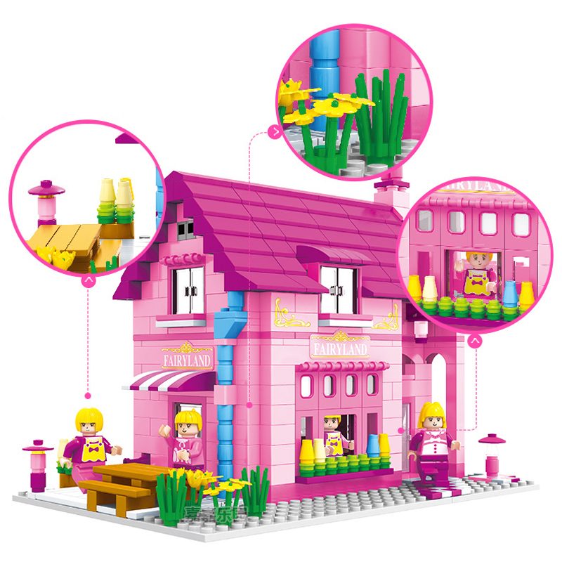 523pcs Girl play house Assembling blocks toys Compatible friends City Princess Villa Educational Toys for Children
