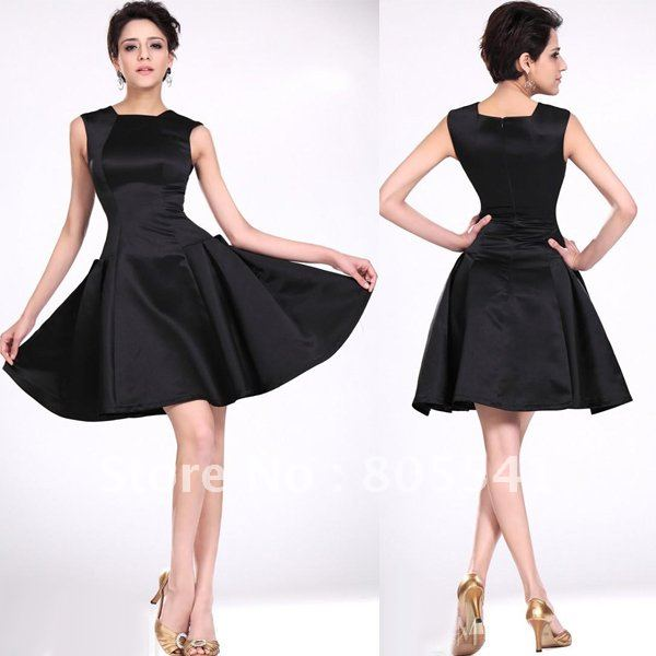 Free Shipping A Line Mini Empire Satin Party Black Cocktail Dress