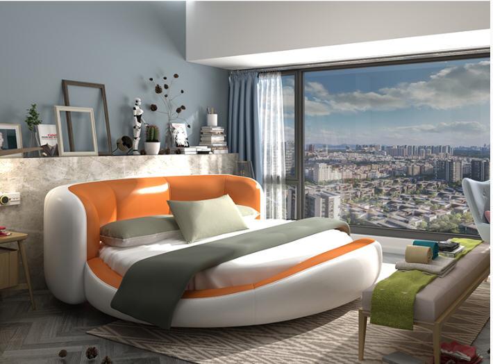 Real Genuine cow leather bed Soft Beds Bedroom camas lit muebles de dormitorio yatak mobilya quarto unique round bed designer