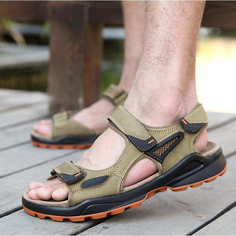 2017 men sandals fashion hook & loop summer flat shoes men high quality genuine leather sandals plus size 45 46