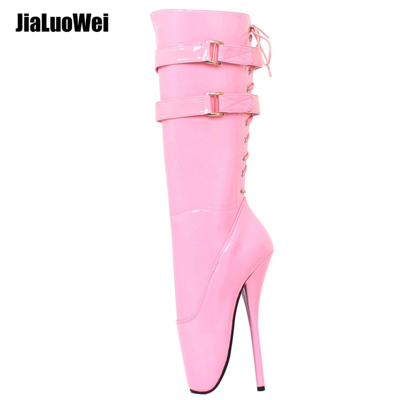 jialuowei New 18cm/7 ultra high heel stilleto spike red shiny Lace-up women knee ballet boots sexy fetish