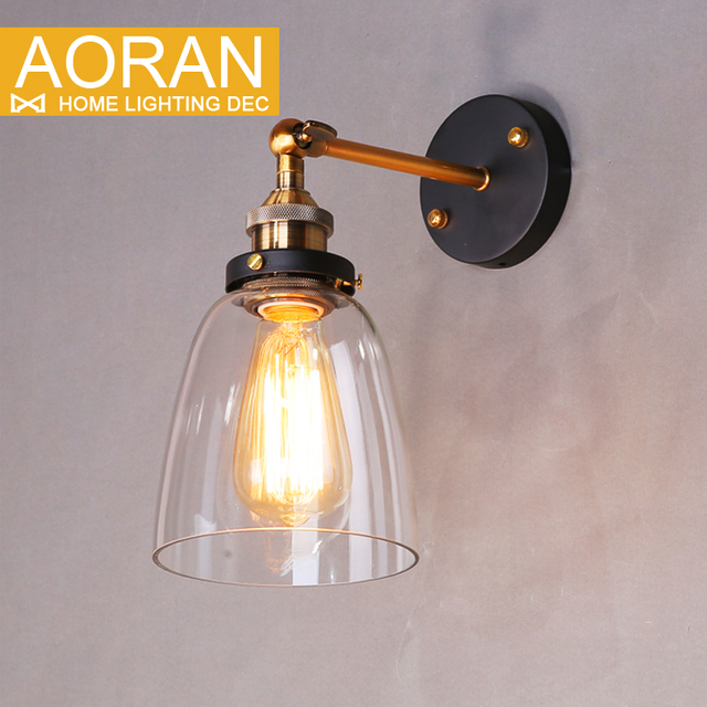 Vintage wall light glass wall lamp 110V 220V bedroom wall lamp for dinning living room