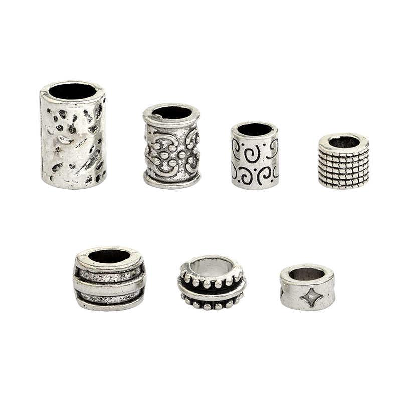 7 teile/satz Viking perlen Antike Minimalismus farbe Perlen Dreadlock Perlen Furcht Krawatte Zwerg Niking Biker Boho Böhmischen Haar Perle für mich
