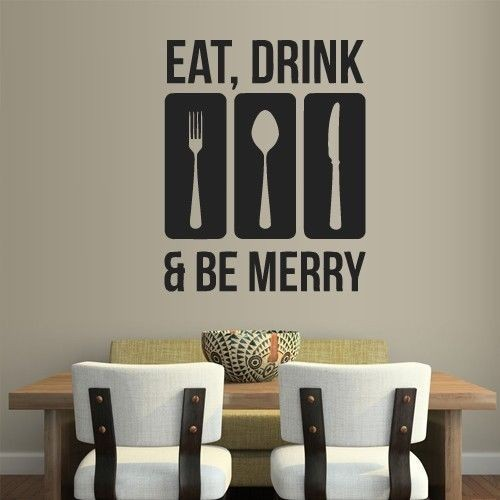 Quote Vinyl Wall Stickers For Kitchen Early Decals Art Decoration Eat Drink Be Happy Home