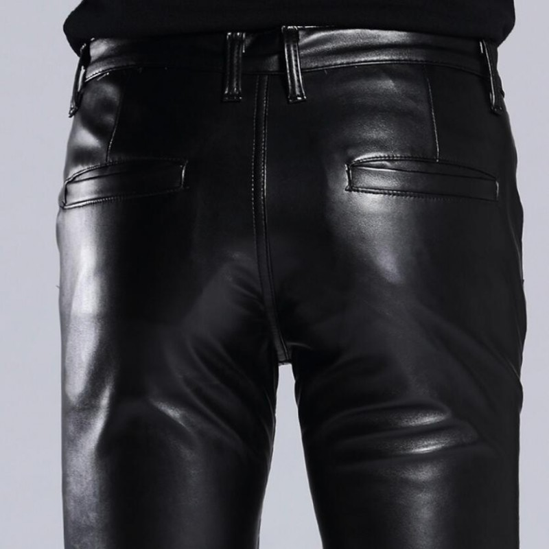 Italian Design High Quality New Brand Mens Fashion Slim Fit Pu Leather Pants Punk Male Motorcycle Pants Trousers Size 27-36