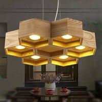 6 главы Nordic дерева соты светодиодный люстра лампа для Гостиная ресторан кафе светодиодный украшение дома висит светильники Светильник