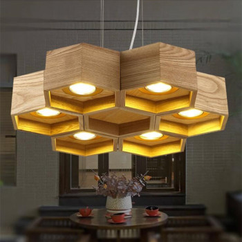 timeless design b5762 8d69e 6 Heads Nordic Wood Honeycomb LED Chandelier Lamp for Living Room  Restaurant Bar Cafe LED Home Decoration Hanging Light Fixtures