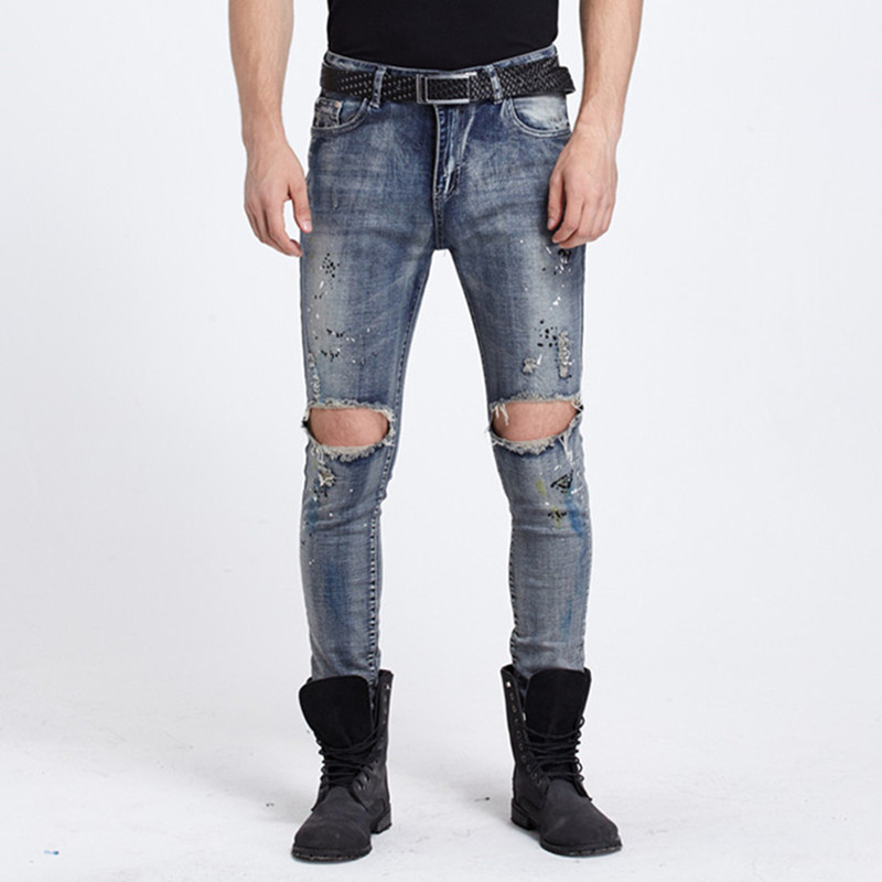 New Fashion Mens Ripped Biker Jeans With Hole on Knees Slim Fit Motorcycle Jeans Men Vintage Distressed Denim Jeans Pants high quality mens ripped biker jeans 100% cotton black slim fit motorcycle jeans men vintage distressed denim jeans hzijue