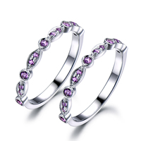 Фиолетовый Аметист обручальное кольцо набор Твердые 14 К белого золота под старину Половина Вечность Обручение группа Для женщин Юбилей под