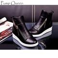 2016 Moda Cunhas Ankle Boot Sapatos de Causalidade Para Mulher Primavera Queda mulheres Sapatos de Couro Preto de Prata Vermelho Botas Mujer Grande Tamanho 42