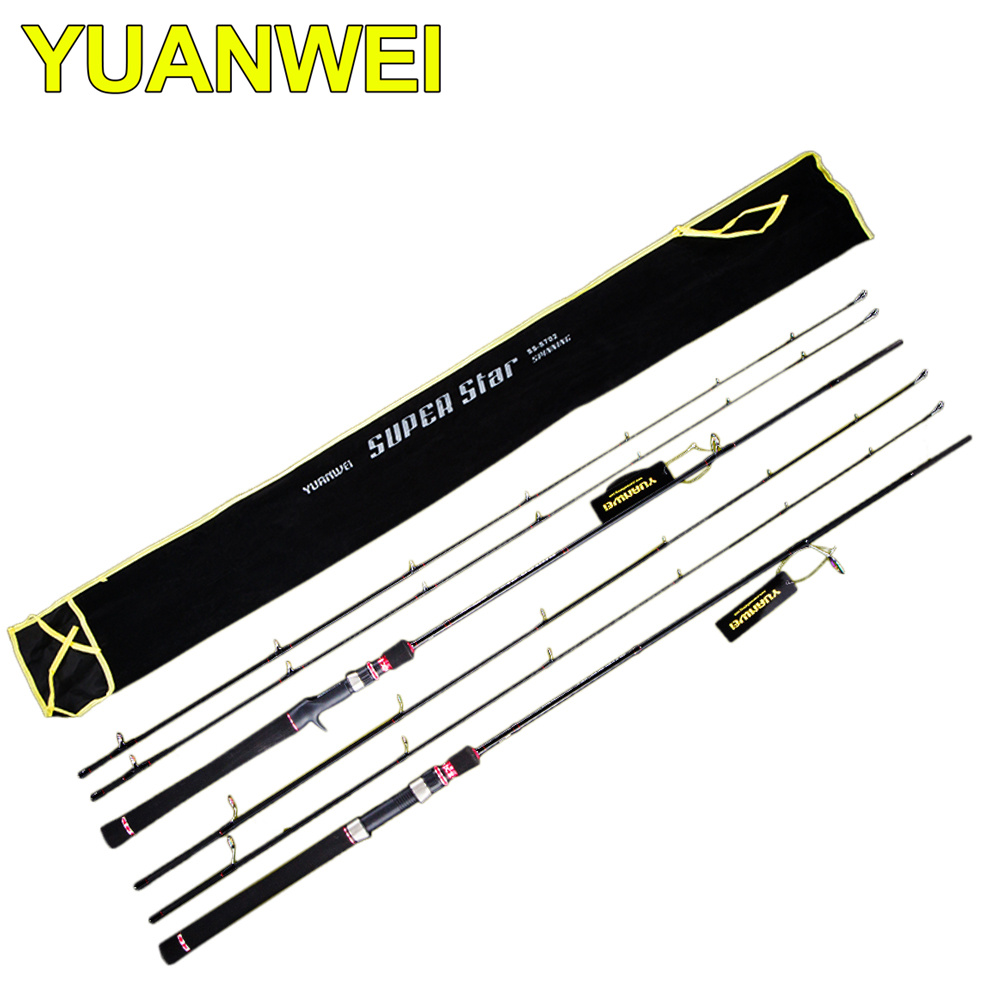 YUANWEI 2Sec 2.1m M/ML 2 Tips Spinning/Baitcasting Fishing Rod FUJI Guide Ring Carbon Rods Vara De Pesca Carp Olta Fishing Stick noeby carbon spinning fishing rod 2 section1 98m 2 13m 2 44m m ml fuji a guide ring fuji reel seat vara de pesca olta lure rods