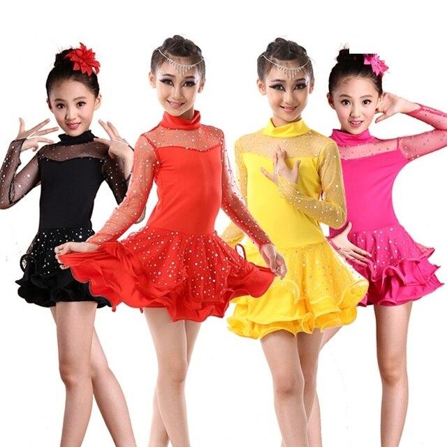 7f846d29887ae Fille latin costumes enfant dans les robes pour filles compétition cha cha danse  robe samba salsa