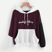 Fashion Beauty Is In The Eye Letters Printed Patchwork Sweatshirts