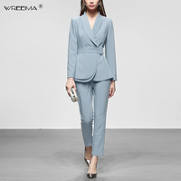 Runway Designer 2019 Spring 2 Piece Set Women Elegant Turn Down Collar Slim blue Blazers Coat + Ankle Length Pencil Pants Suits