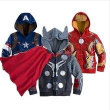 Abrigo para niños el abrigo de los Vengadores otoño Chaqueta de algodón para niños Hulk Thor Capitán América ropa informal con capucha ropa para niños