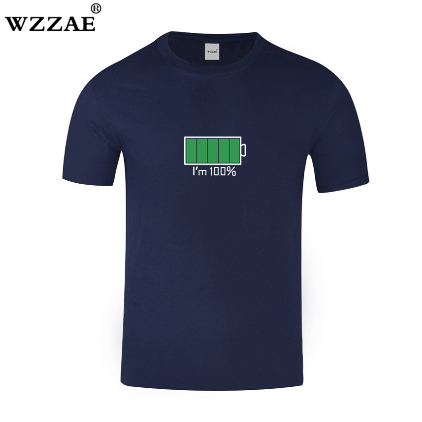WZZAE 2018 Full Battery Android Creative Men T-shirts Energy Cotton Tee shirt Homme Classic Blouse Fitness Clothes Men's T shirt 5